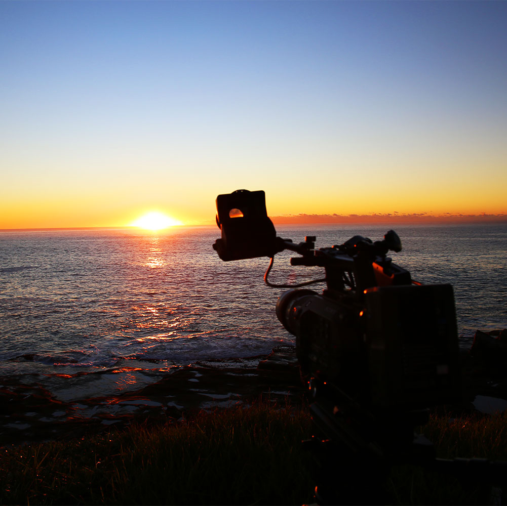 creative content, on location, behind the scenes, filming, sunrise